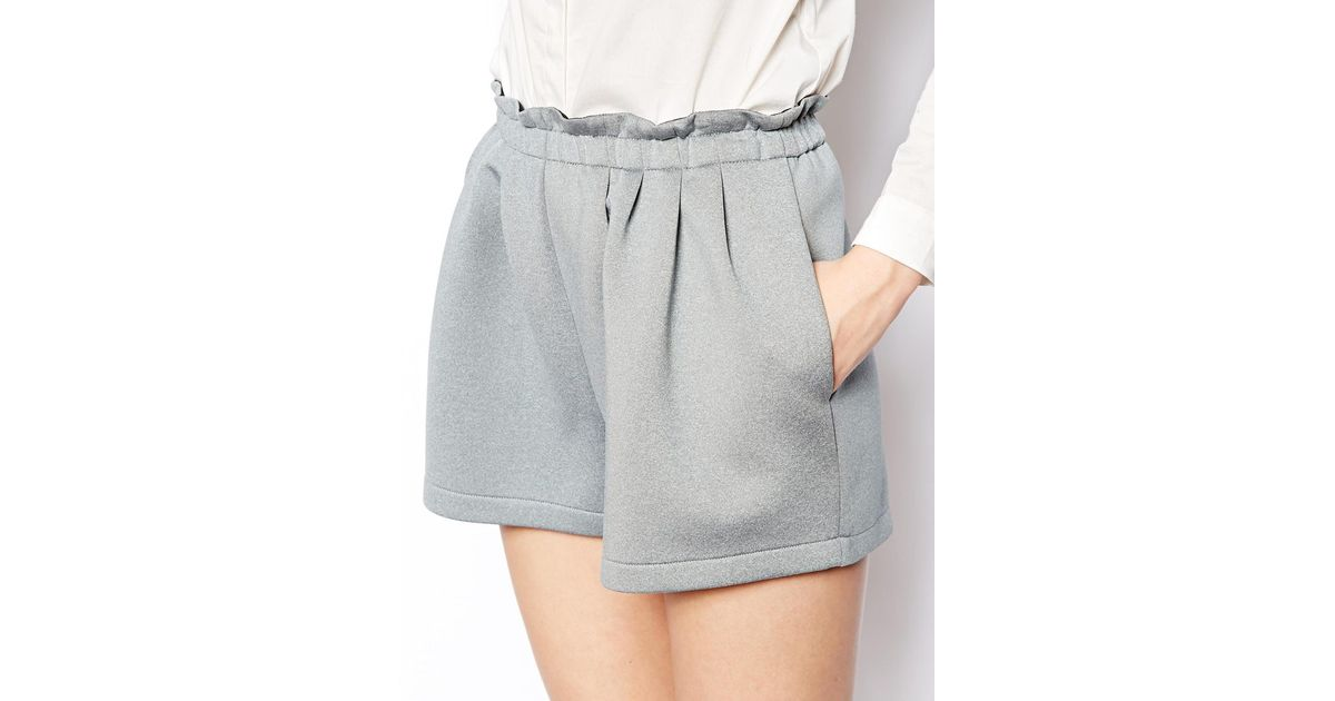 Asos High Waisted Scuba Shorts in Gray   Lyst