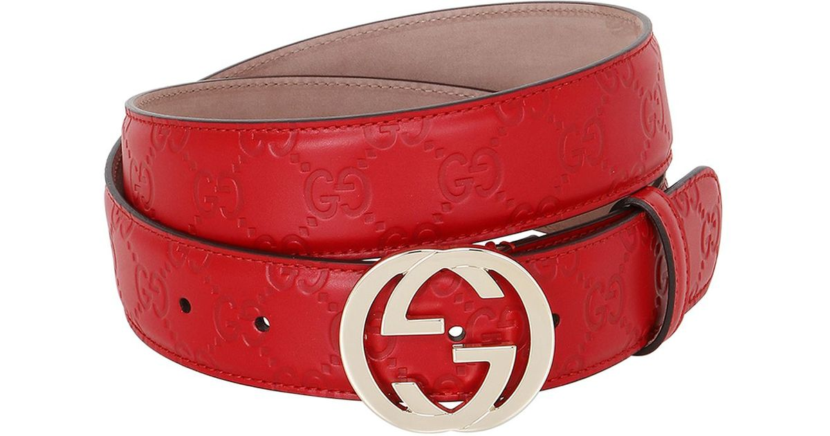 Lyst - Gucci 37mm Gg Embossed Leather Belt in Red