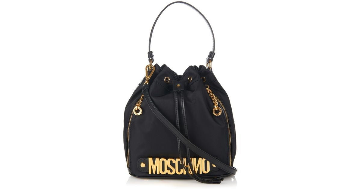 adebb12b5 Moschino Lettering Leather And Nylon Bucket Bag in Black - Lyst