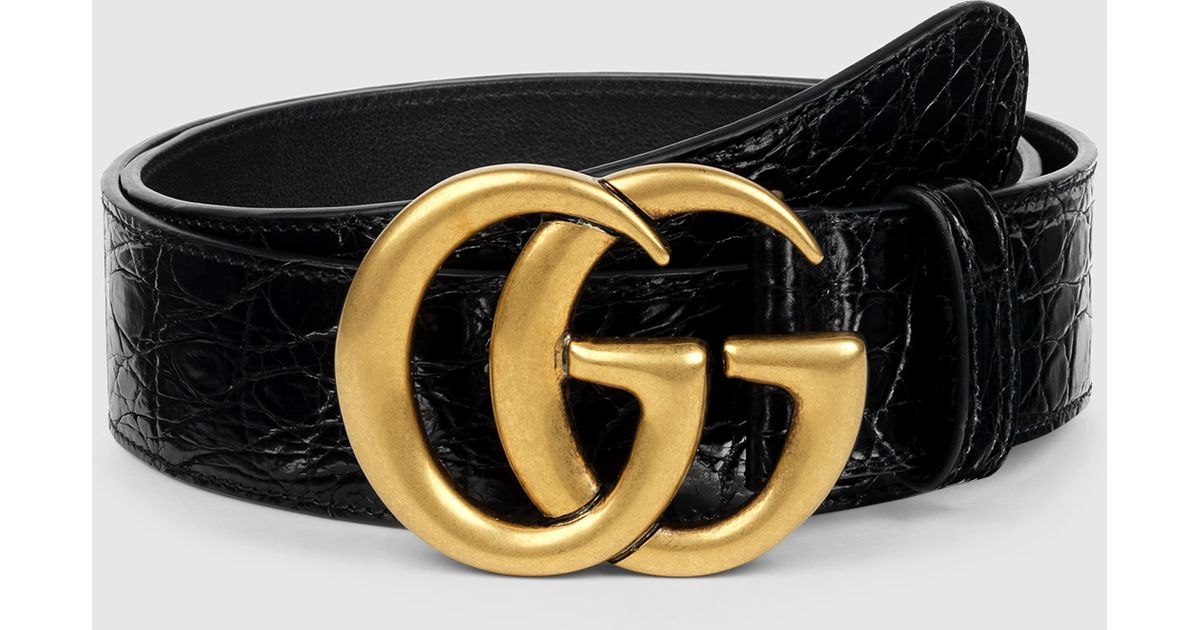 cc3b49c1055 Gucci Crocodile Belt With Double G Buckle in Black for Men - Lyst