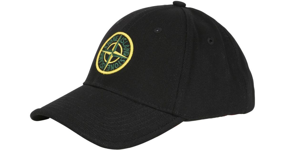 Lyst - Stone Island Cotton Gabardine Baseball Cap in Black for Men 4b28651e932