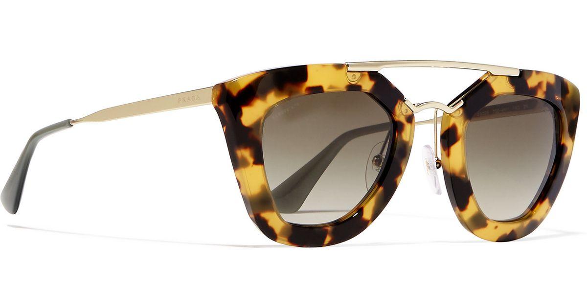 85d5d77b7c5e ... hot prada d frame acetate and gold tone sunglasses in brown lyst 22c6a  ac7da