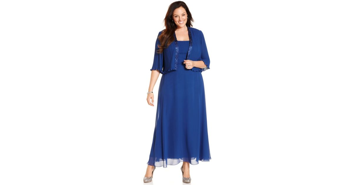 Lyst Patra Plus Size Sleeveless Pleated Gown And Jacket In Blue