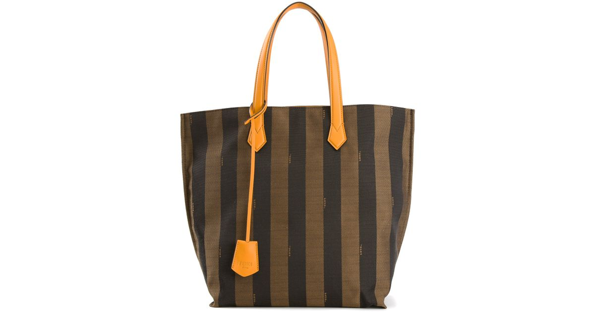 79392b24478 ... Lyst - Fendi All in Penguin Striped Tote in Brown the latest ef3bd  df3c0 ...