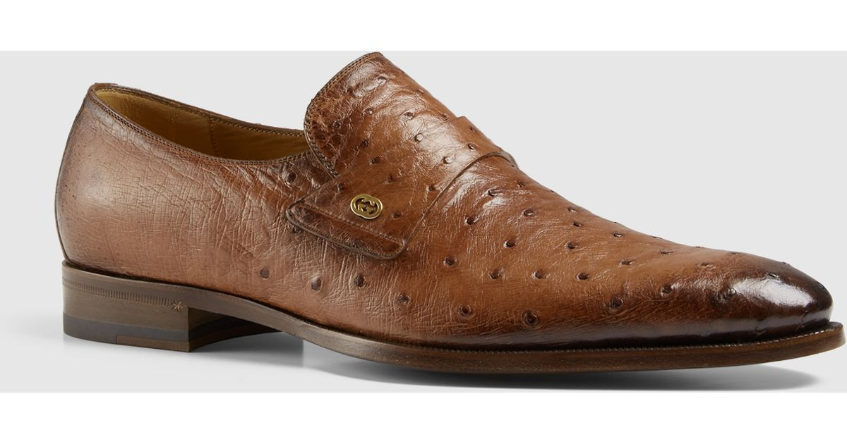 637bf146cb Lyst - Gucci Ostrich Loafer in Brown
