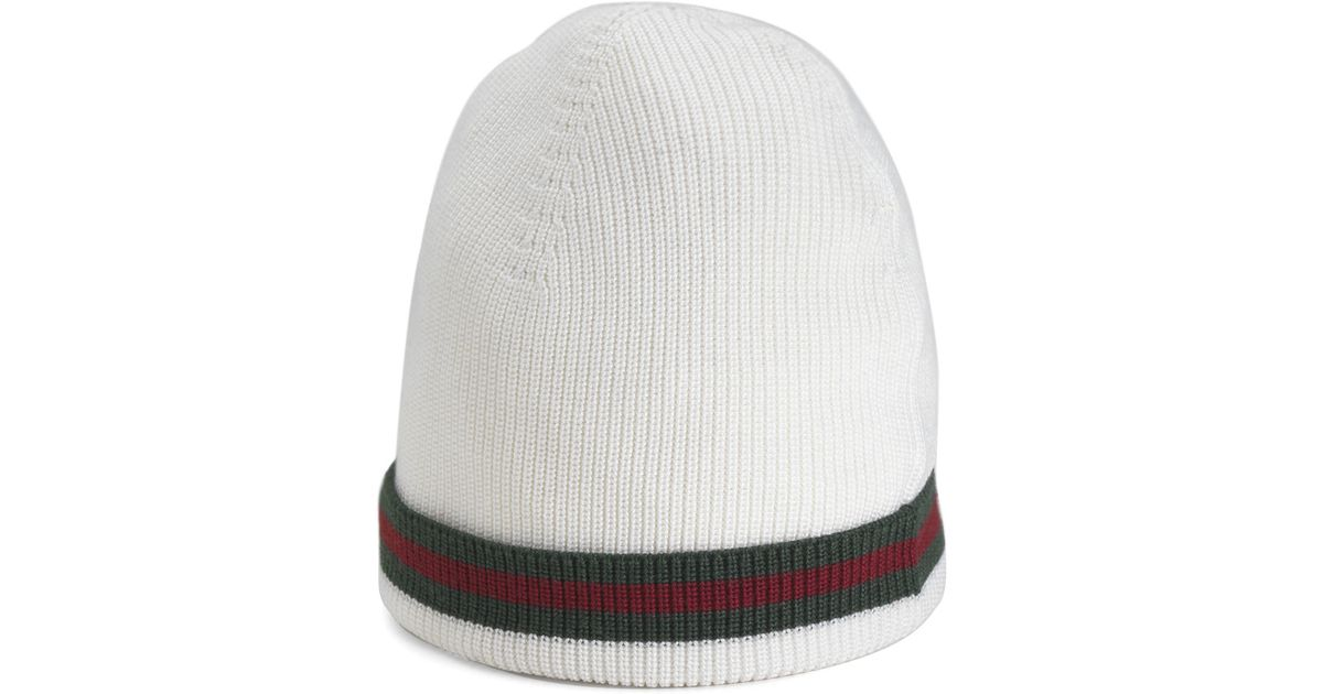 9186b572167f Lyst - Gucci Crook Knit Hat in White for Men