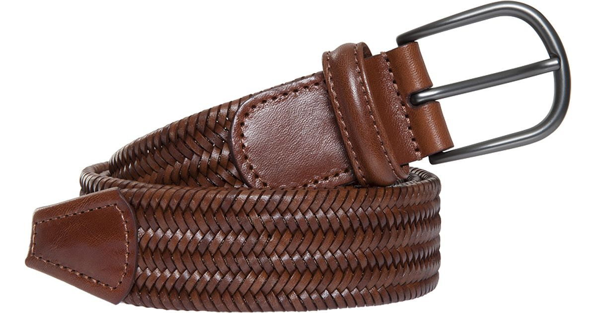 andersons leather woven belt in brown for lyst
