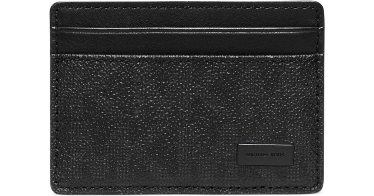 cee30efa4e29 Michael Kors Jet Set Shadow Signature Card Case With Money Clip in Black  for Men - Lyst