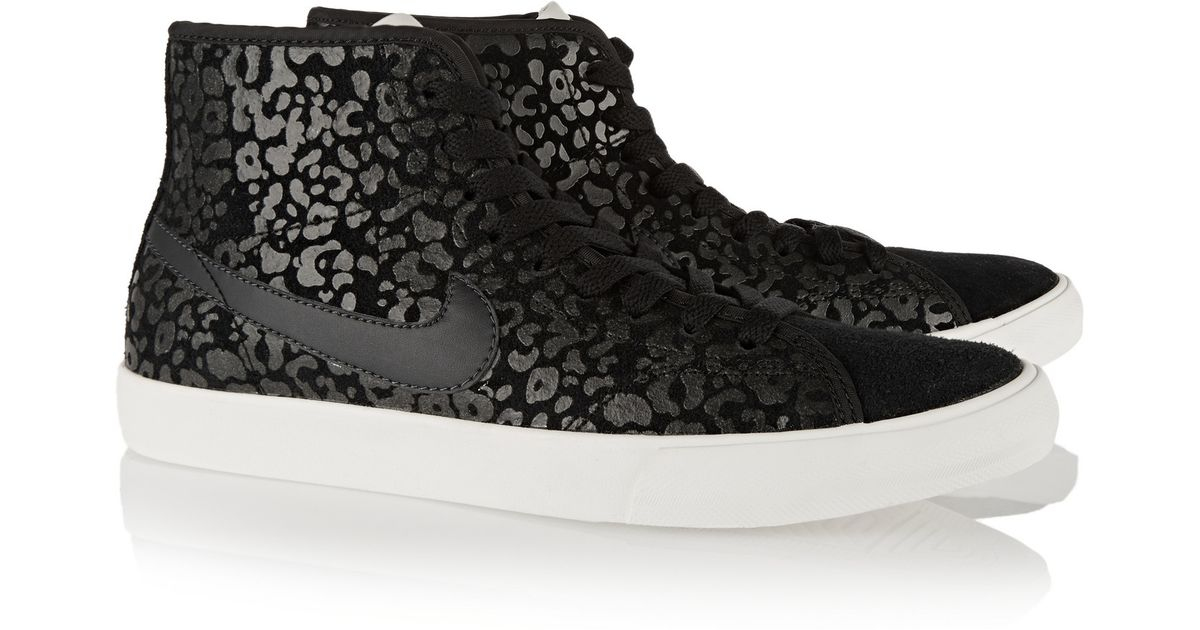 nike primo court leopard-print suede high-top sneakers in black - lyst