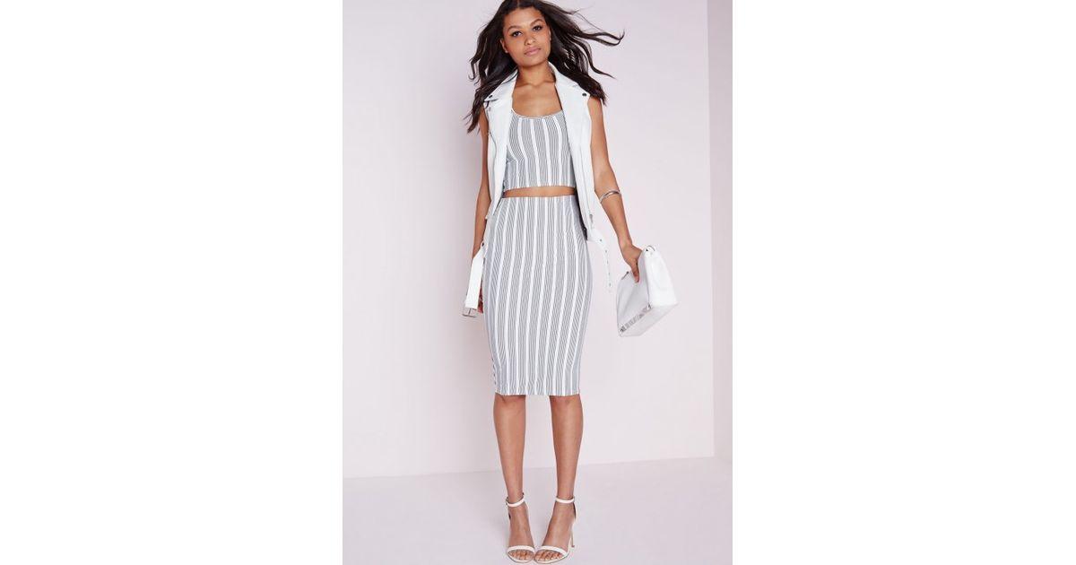 d3958bf2d2 Lyst - Missguided Crepe Stripe Midi Skirt White Black in Black