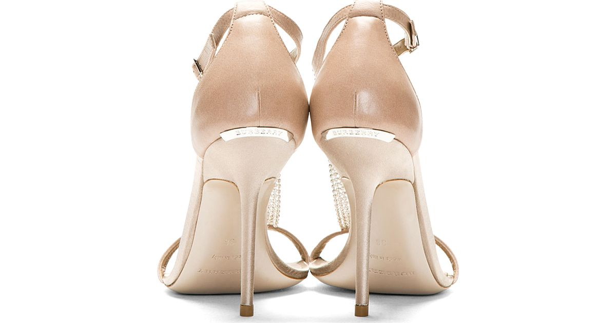 Lyst - Burberry Prorsum Nude Crystal Embellished Heeled Sandals in Natural 1036f1dbd5