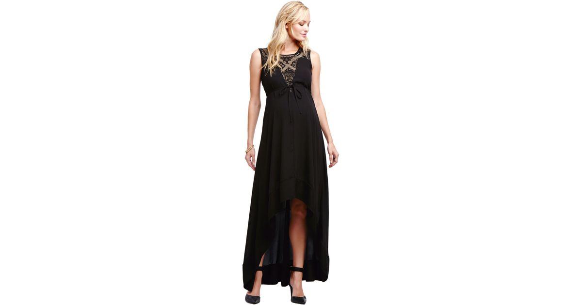 ccf685157fd2 Jessica Simpson Maternity Illusion High-low Maxi Dress in Black - Lyst