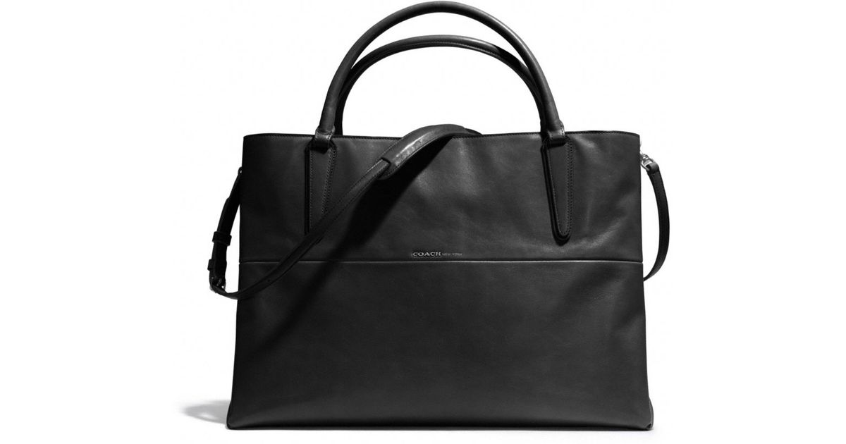 lyst coach large soft borough bag in nappa leather in black rh lyst com