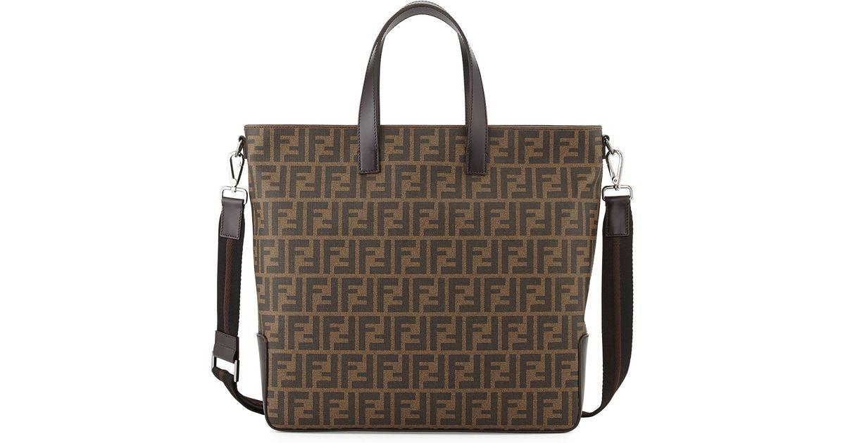 dde8b80ee152 Lyst - Fendi Men S Zucca Canvas Tote Bag in Brown