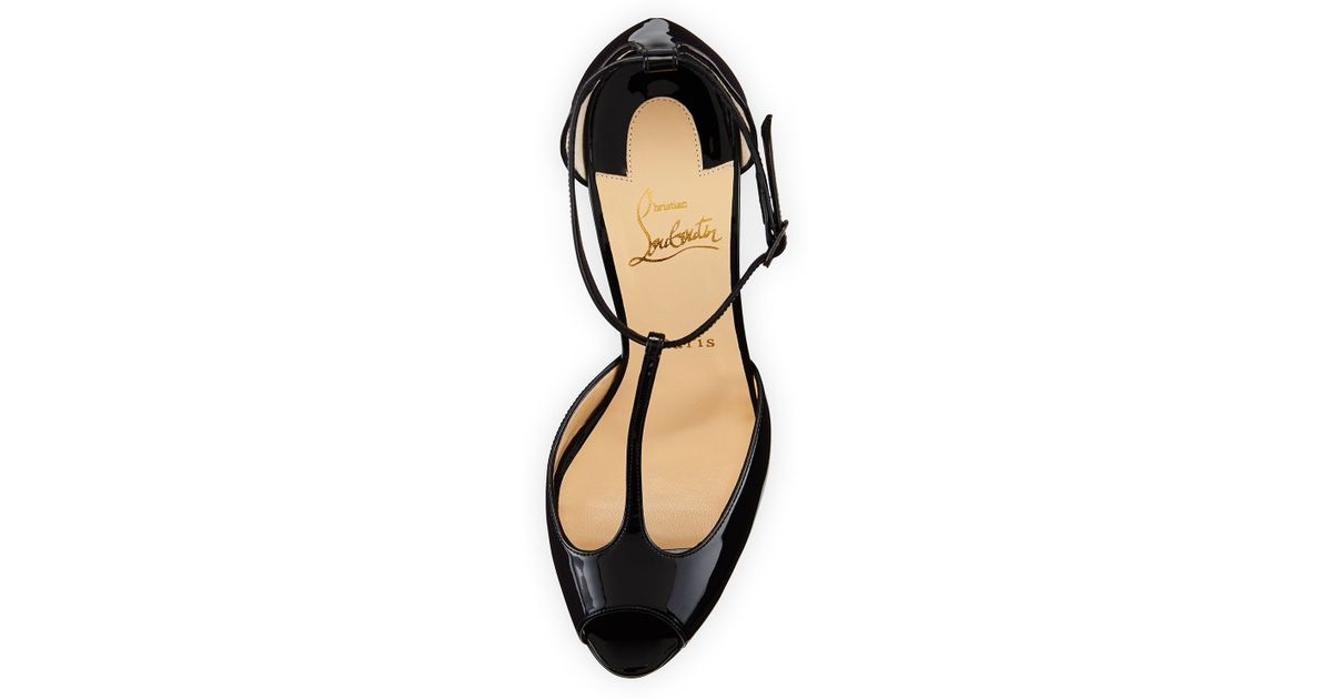 3393f52f83f Christian Louboutin Black Senora Patent T-strap Red Sole Sandal
