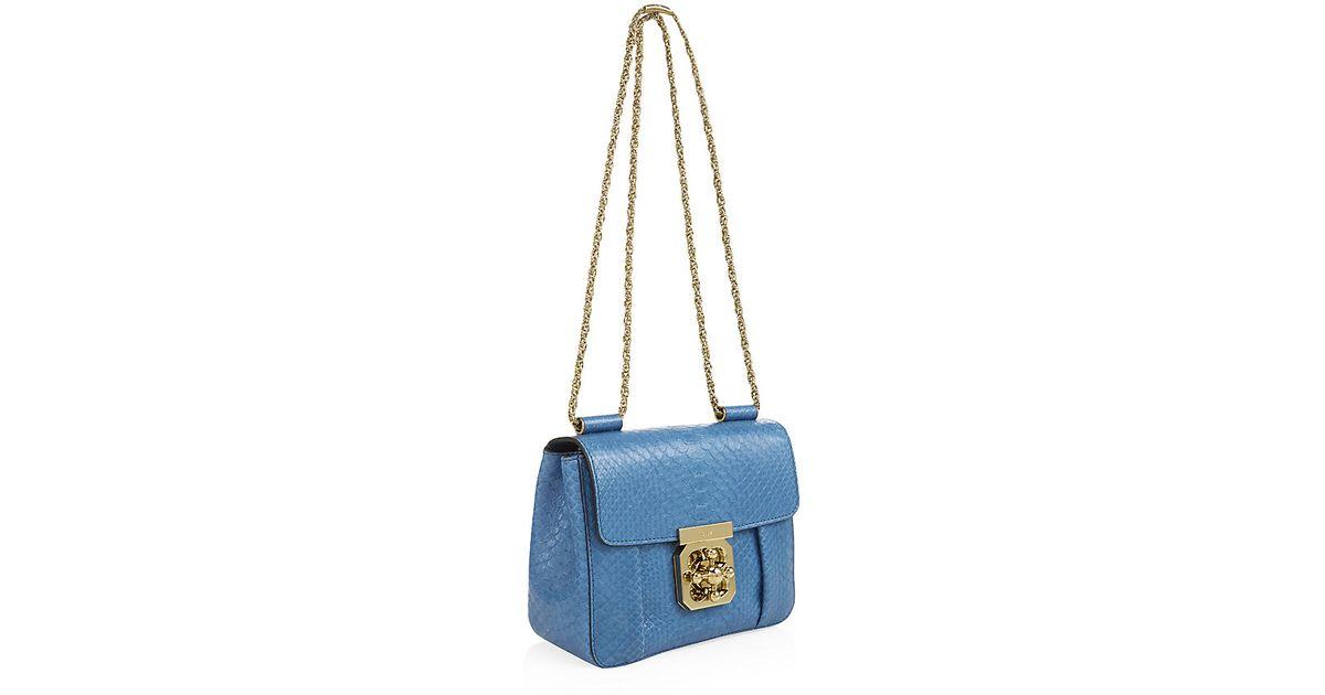 cloe purse - Chlo�� Small Elsie Python Shoulder Bag in Blue | Lyst
