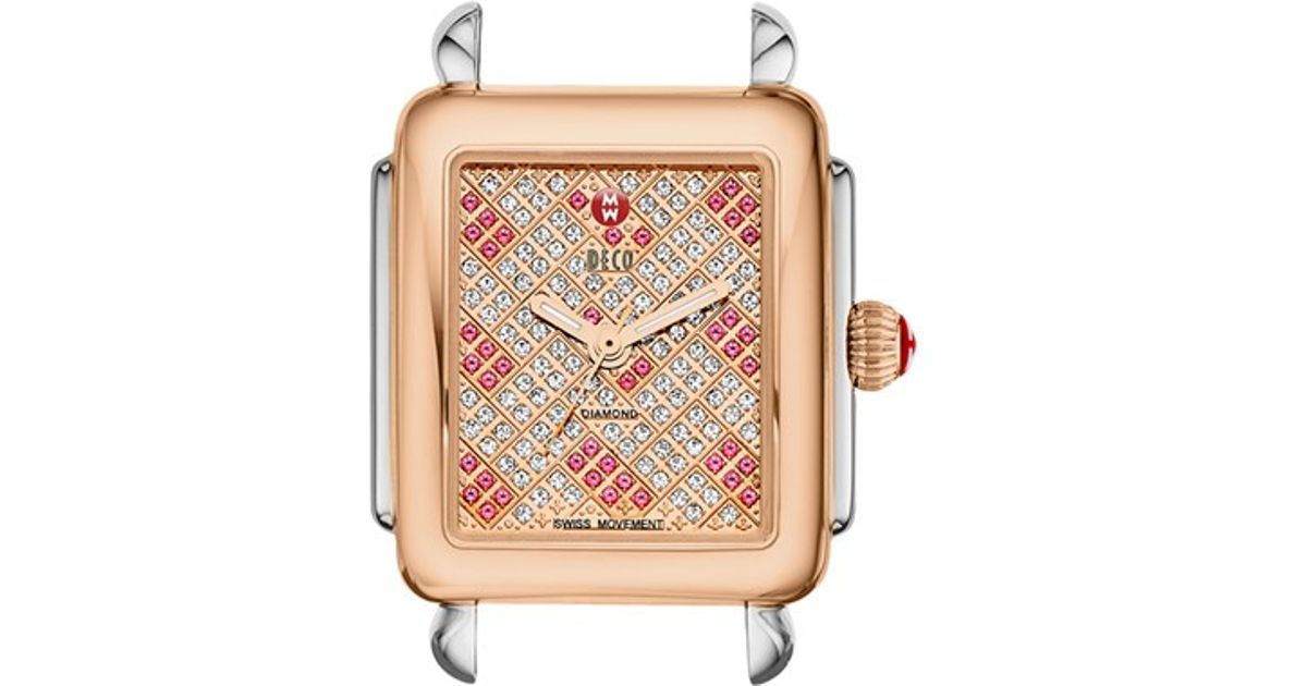 Michele 39 deco 16 39 two tone diamond topaz dial watch case for Deco maison rose gold