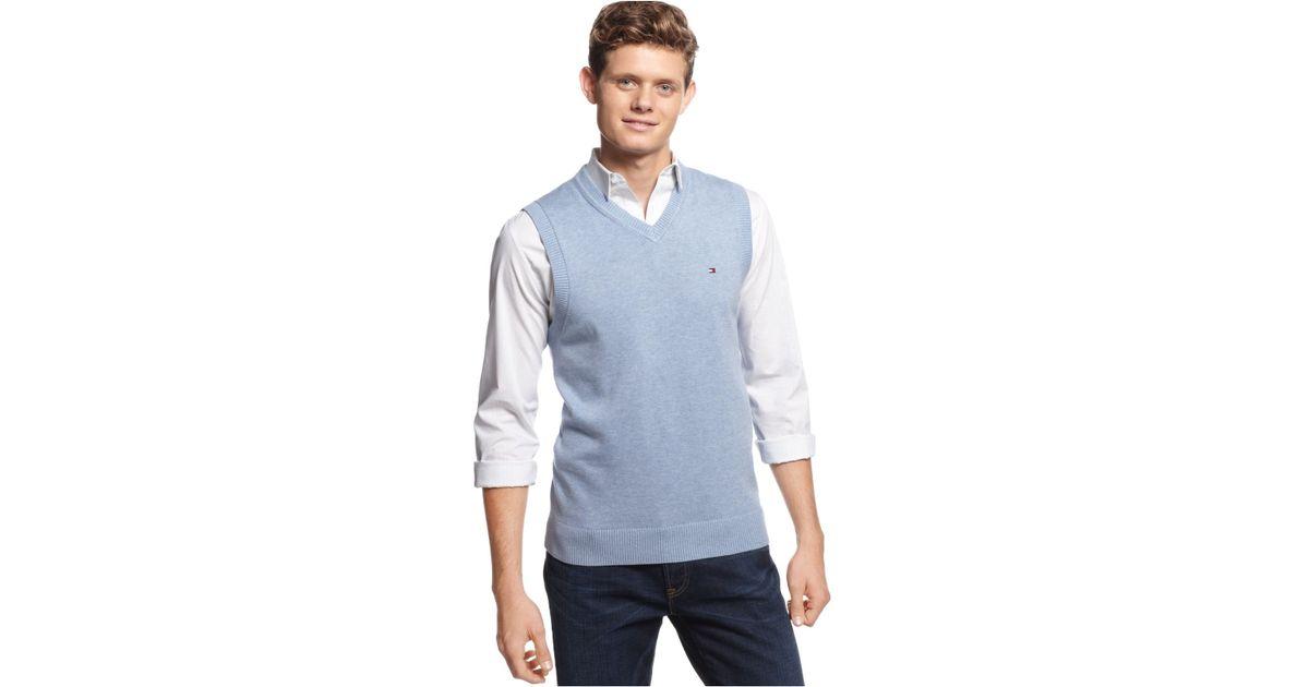 Tommy hilfiger Signature V-Neck Sweater Vest in Blue for Men | Lyst