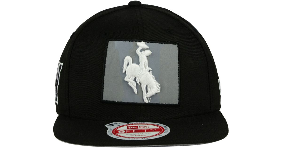 KTZ Black Wyoming Cowboys State Flective 9fifty Snapback Cap for men