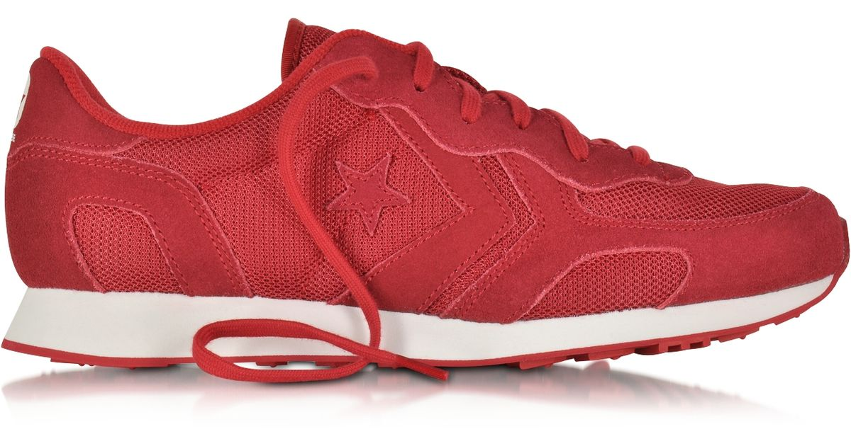 8dd69a1365a Lyst - Converse Auckland Racer Ox Tango Red Mesh Suede Sneaker in Red