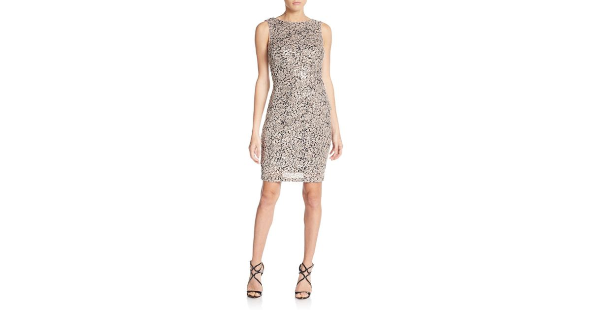 Calvin Klein Natural Sequined Lace Sheath Dress Lyst