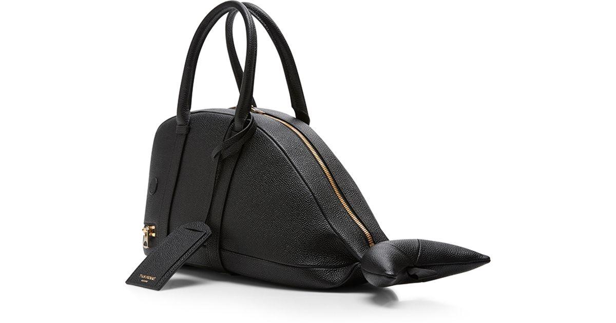Thom Browne Black Small Whale Bag In Pebble Calf