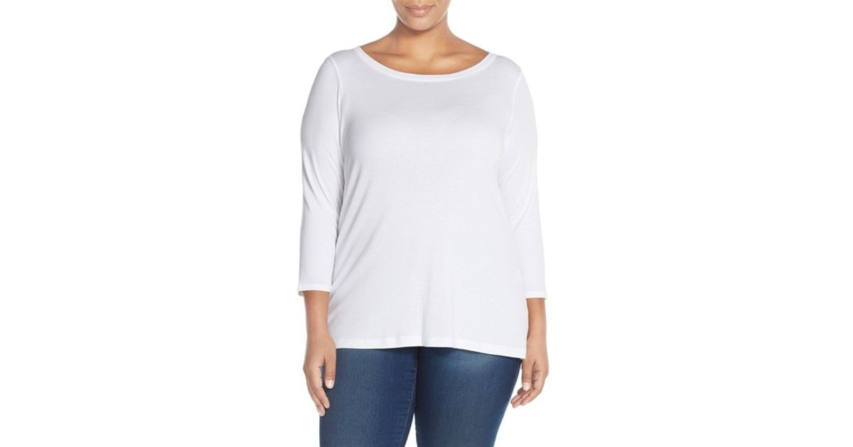 Sejour Ballet Neck Tee In White Lyst