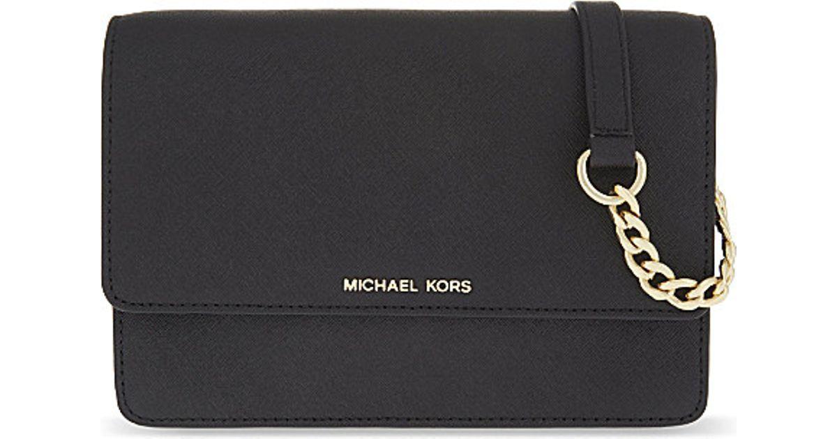 5a7d74192bb0 Lyst - MICHAEL Michael Kors Daniela Small Leather Cross-body Bag in Black