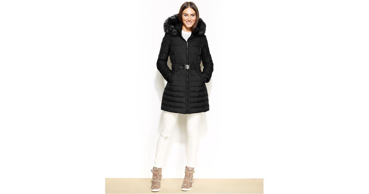 8b1b1685e DKNY Black Hooded Faux-Fur-Trim Belted Down Puffer Coat