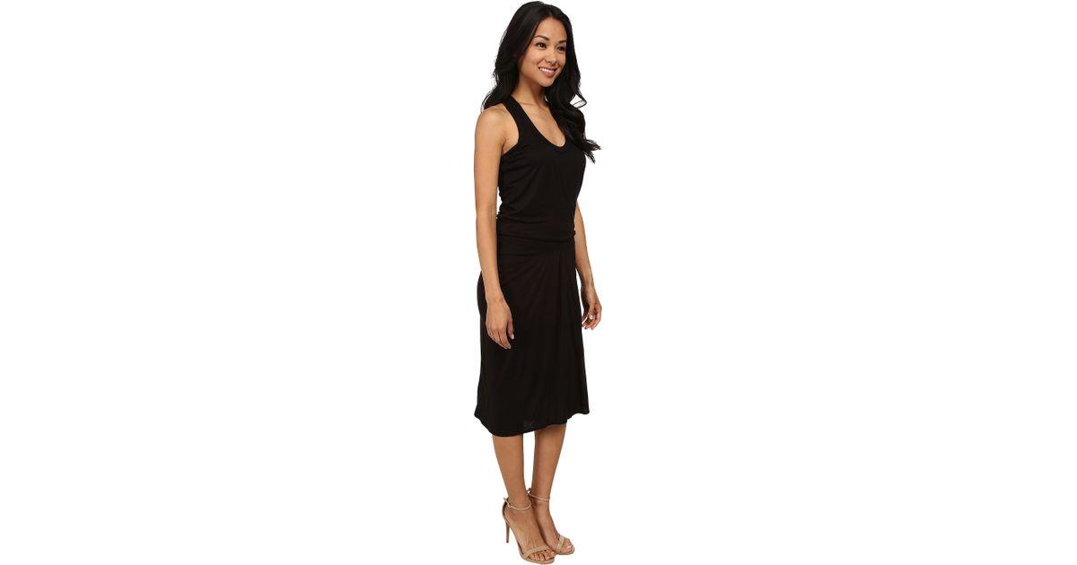 Lyst Dkny Elastic Waist Racerback Dress In Black