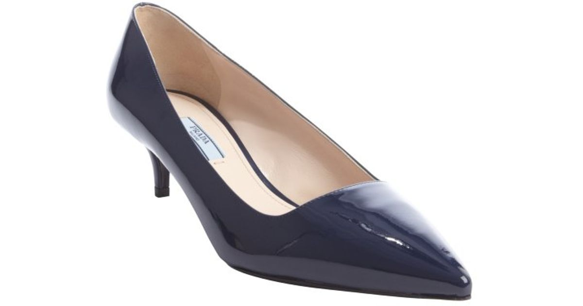 Prada Royal Blue Patent Leather Point Toe Kitten Heel Pumps in ...