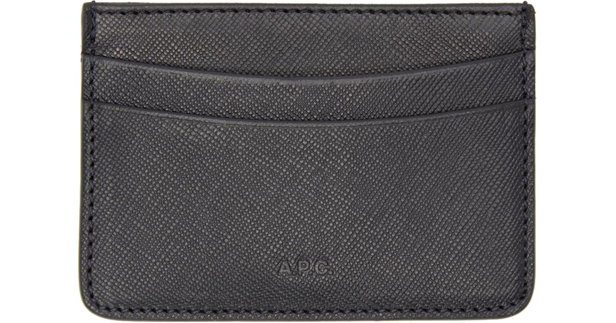 sports shoes 6560c c75de A.P.C. Black Leather Card Holder for men