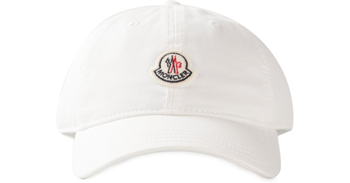 Lyst - Moncler Logo Detail Baseball Cap in White for Men 84a3c69b86c