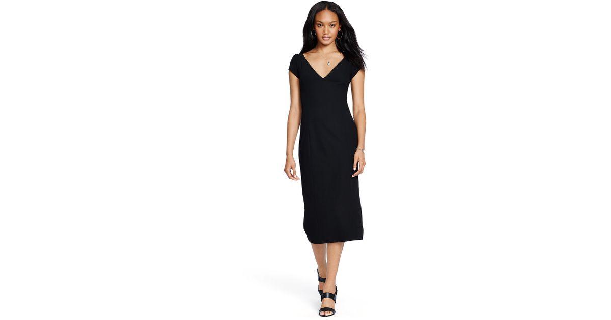 Lyst Polo Ralph Lauren Crepe V Neck Dress In Black