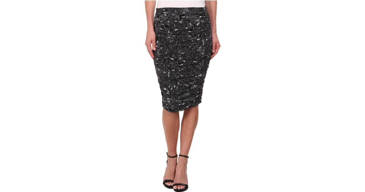dca43cccb678bc Vince Camuto Speckle Graphic Ruched Midi Tube Skirt in Black - Lyst
