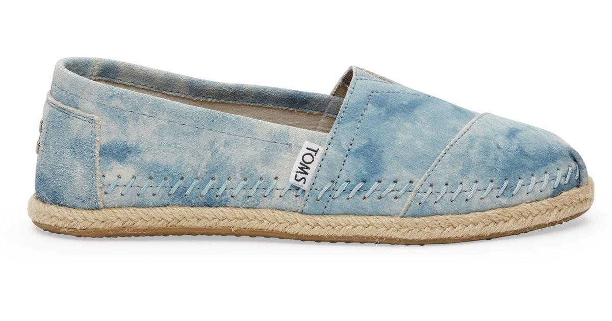 64312c844fd Lyst - TOMS Blue Washed Suede Women s Classics in Blue