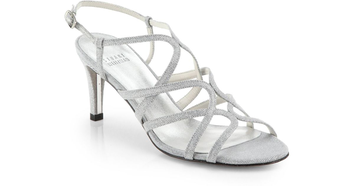 d0f9e7dbce12c Lyst - Stuart Weitzman Turning Up Shimmer Strappy Sandals in Metallic