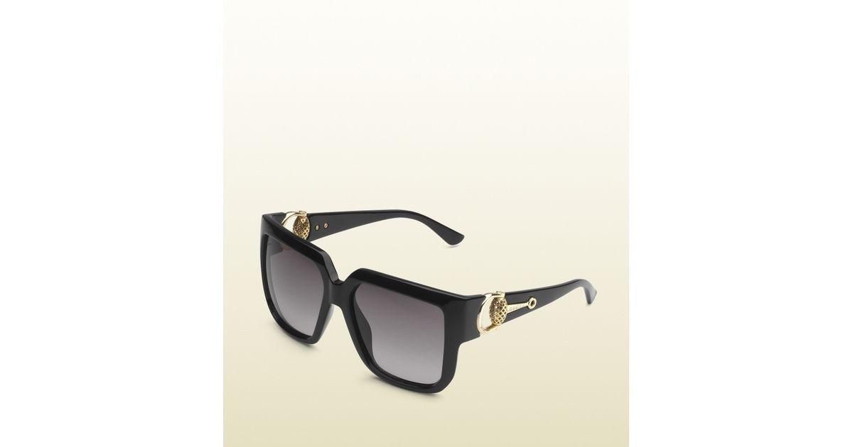 d8a3352878abc Gucci Oversized Square-frame Horsebit Sunglasses in Black - Lyst