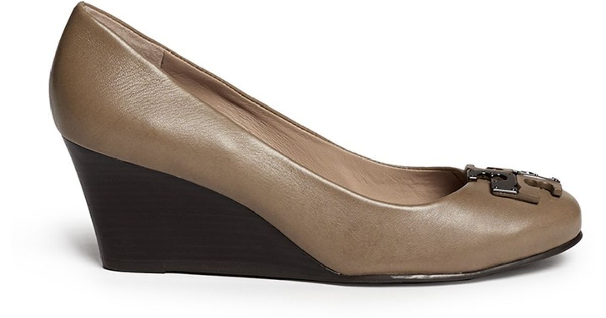 666b0fd6a Tory Burch 'lowell' Metal Colourblock Logo Leather Wedge Pumps in Brown -  Lyst