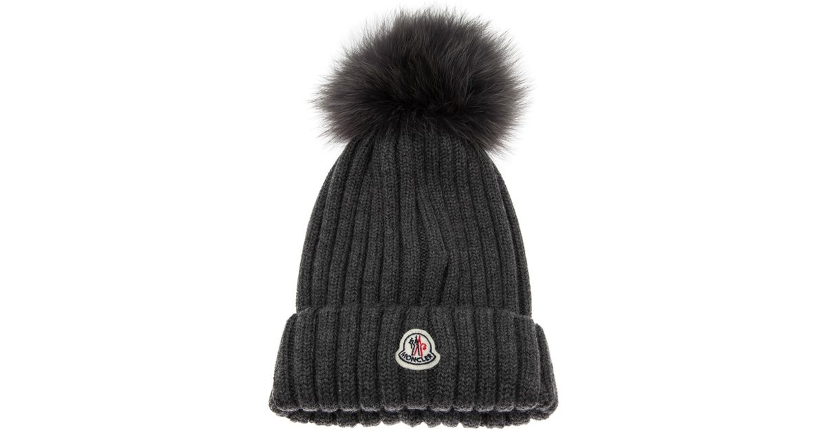 48a98d84f39 Lyst - Moncler Cap with Fur Pom Pom in Gray