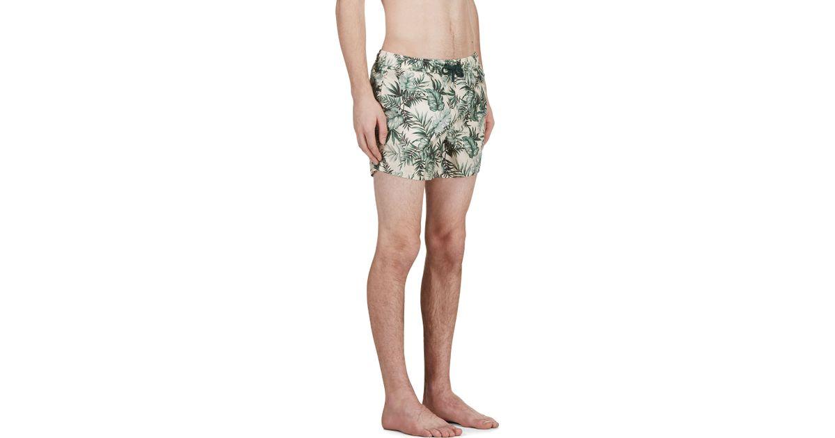 5386c97fc Lyst - Moncler Green Botanical Print Swim Shorts in Green for Men