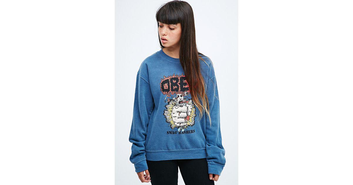 c43d3da47 Obey Swag Basher Sweatshirt in Blue in Blue - Lyst