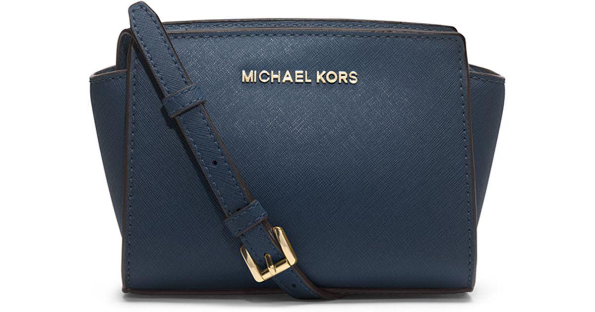 48cab5e077cc7d ... switzerland lyst michael michael kors selma mini saffiano messenger bag  in blue 6f364 45eeb