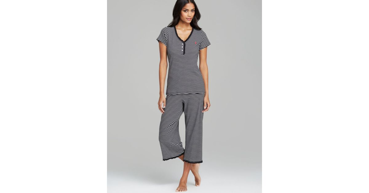 2ff0d387b60 Lyst - Lauren by Ralph Lauren Carmen Knit Capri Pajama Set in Black