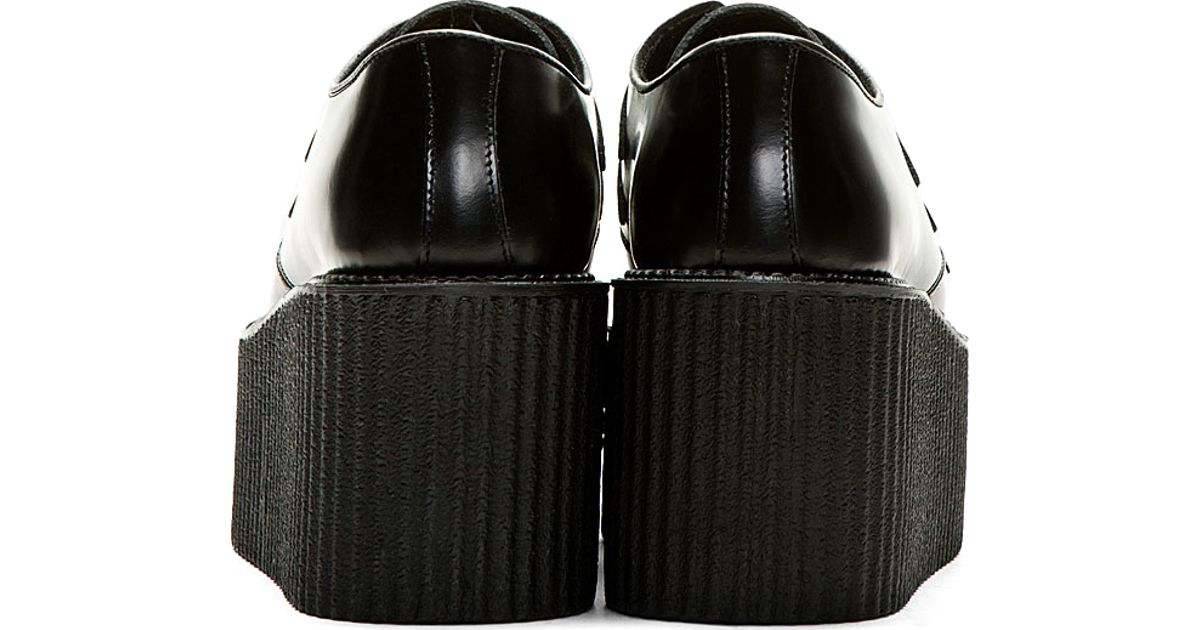 bd2c4870e3621 Underground Black Buffed Leather Triple Sole Creeper Shoes for men
