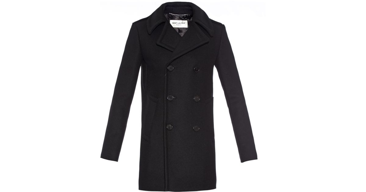ca74aa3b7e3 Saint Laurent Double-breasted Wool-blend Pea Coat in Black for Men - Lyst
