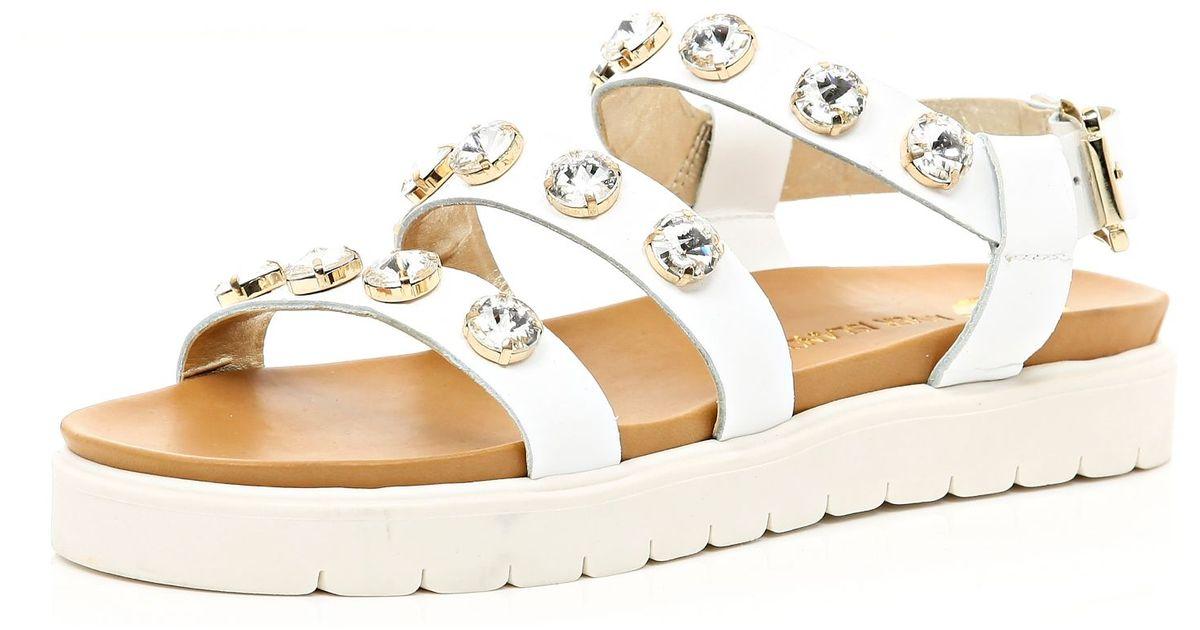 abe5b89989d River Island White Gem Stone Embellished Flatform Sandals in White - Lyst