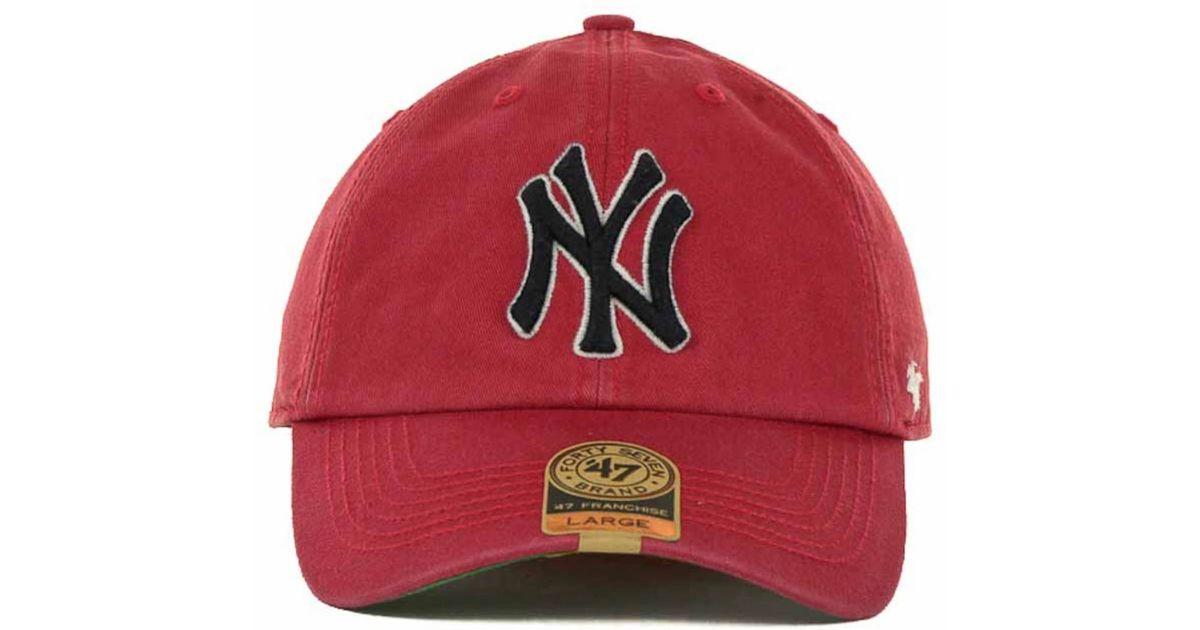 e2d80482943 Lyst - 47 Brand New York Yankees Franchise Cap in Red for Men
