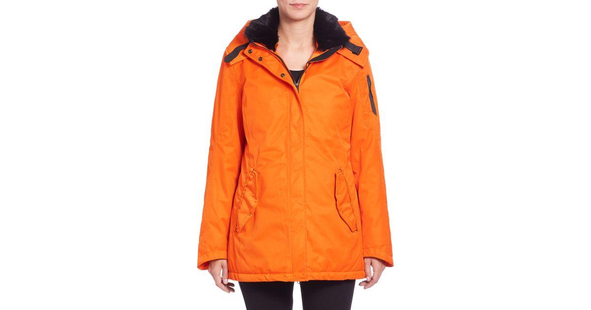 g lab mayfair ii fur collar coat in orange flame lyst. Black Bedroom Furniture Sets. Home Design Ideas