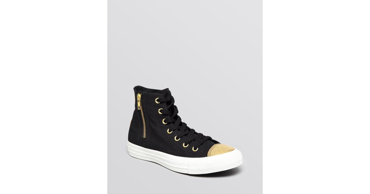 8151eff64ebf28 ... sale converse lace up high top sneakers chuck taylor all star side zip  in black lyst